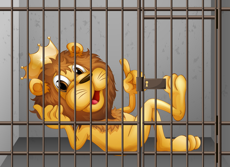 locked in: Lion being locked in the cage illustration