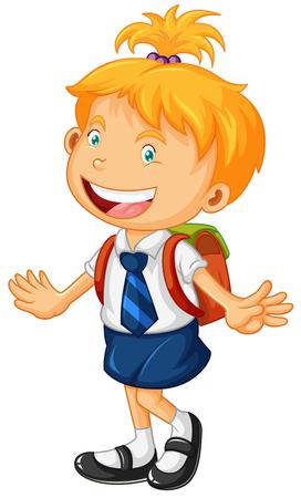 school uniform: Girl in school uniform illustration Illustration