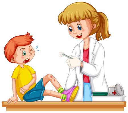의사는 소년 그림의 상처를 세척 및 소독