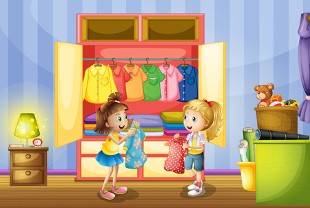 2 人の女の子のイラストのクローゼットから服を選ぶ