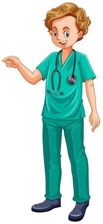 grown up: Doctor in green uniform illustration Illustration