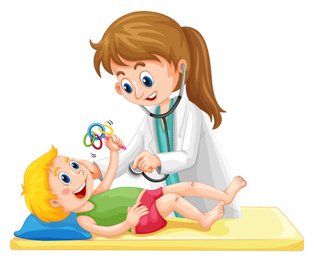 pediatrician: Doctor examining toddler boy illustration Illustration