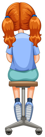 stools: Back of little girl on stool illustration