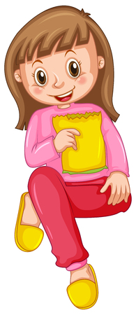 snack: Girl in pink pajamas eating snack illustration