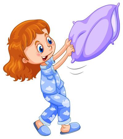 Mädchen im blauen Schlafanzug mit lila Kissen Illustration Vektorgrafik