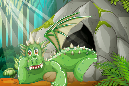 mythological character: Dragon living in the cave illustration