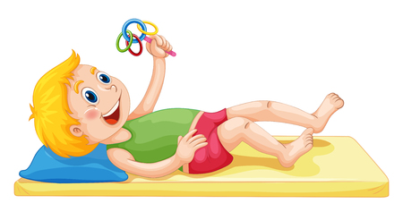 toddler: Toddler playing with toy illustration Illustration