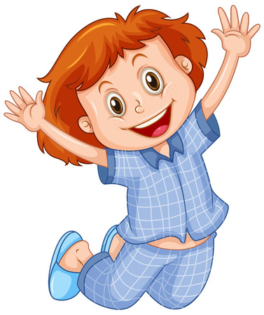 Girl in blue pajamas jumping illustration