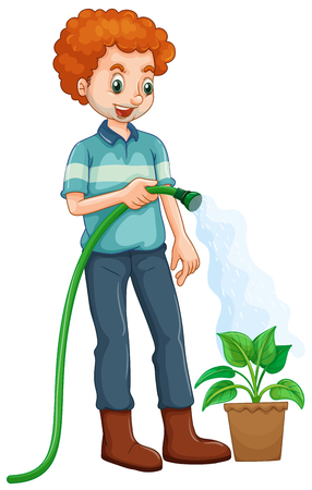 grownup: Man watering the plant illustration Illustration