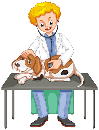 dog isolated: Vet checking up dog with stethoscope illustration Illustration