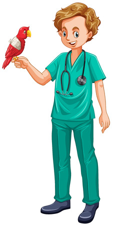 grownup: Vet and parrot pet illustration