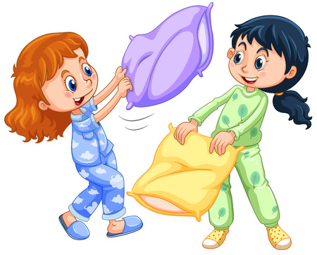 slumber: Two girls playing pillow fight at slumber party illustration