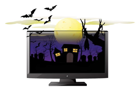 isolated on a white background: Computer screen with halloween theme illustration Illustration