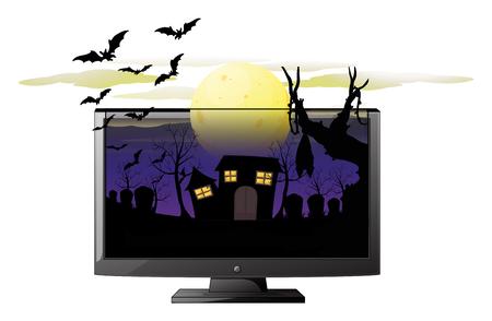 Computer screen with halloween theme illustration Illustration