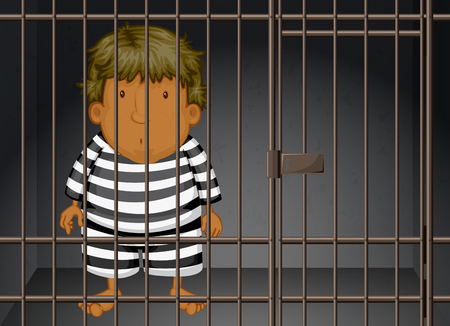 man in jail: Prisoner being locked in the prison illustration Illustration