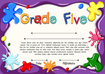 clip arts: Certificate template for grade five illustration