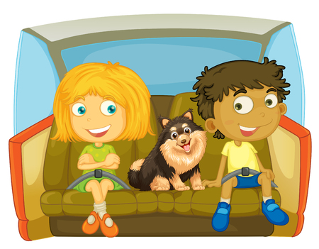 Children and dog sitting in the car illustration
