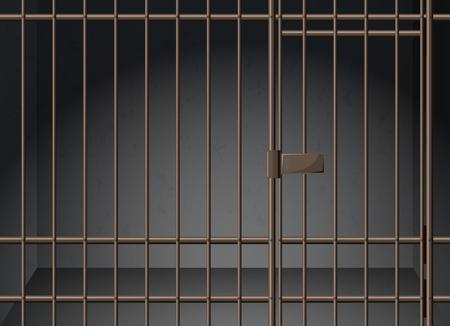 Gevangenis cel met metalen staven illustratie