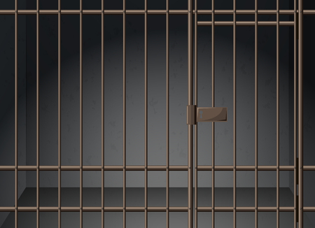 jail: Prison cell with metal bars illustration Illustration