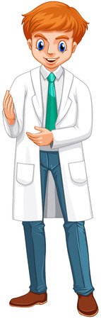 a gown: Male doctor in white gown illustration