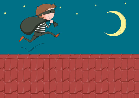 dangerous man: Robber with bag running on the roof illustration Illustration