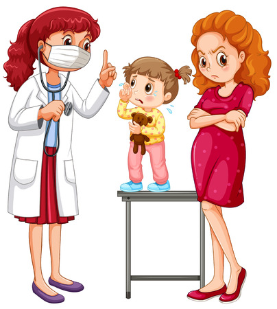 female doctor: Doctor and crying girl illustration