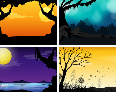 afterglow: Four scenes of nature with colorful background illustration