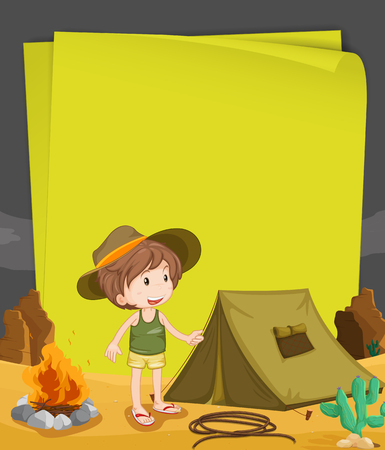 night out: Paper design with boy camping out at night illustration