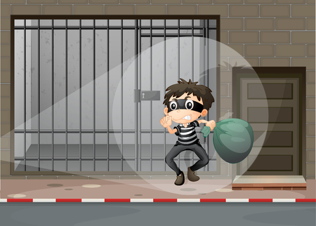 escaping: Robber escaping out of the prison illustration