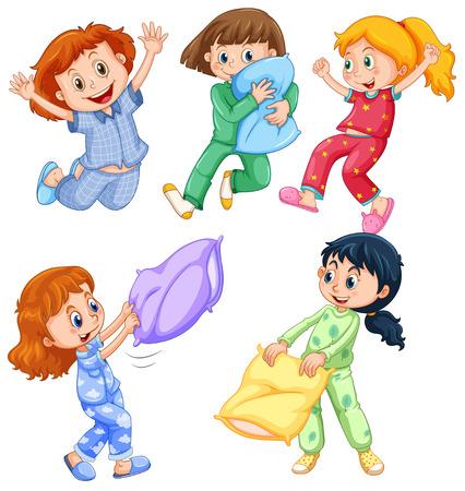 Chicas en pijama en la ilustración de la fiesta de pijamas