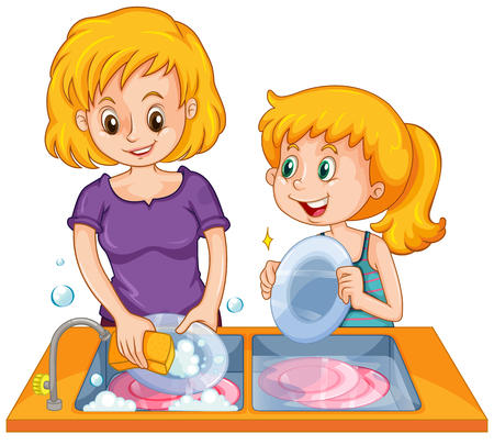 Girl helping mom doing the dishes illustration