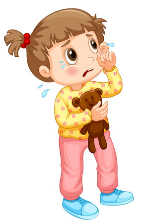 sad little girl: Little girl crying with tears illustration