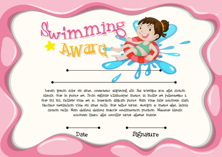 Certificate template with girl swimming illustration