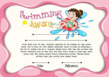 certificate template: Certificate template with girl swimming illustration