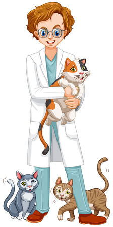 vet: Vet with many cats illustration