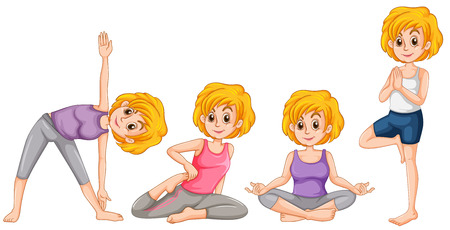 grownup: Woman in different position of yoga illustration