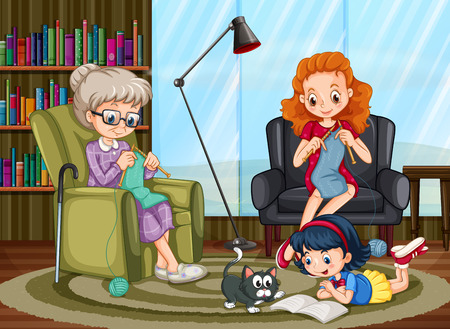 freetime: Family members enjoying freetime together illustration