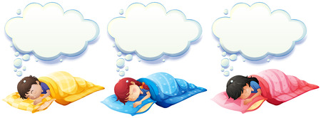 blanket: Boy and girl sleeping under the blanket illustration