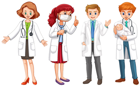 Male and female doctors in uniform illustration