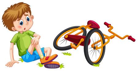 Junge abgefallen dem Fahrrad Illustration
