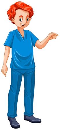 grown up: Vet dressed in blue uniform illustration