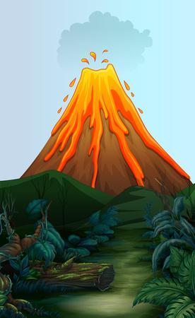 erupting volcano: Nature scene with volcano eruption illustration Illustration