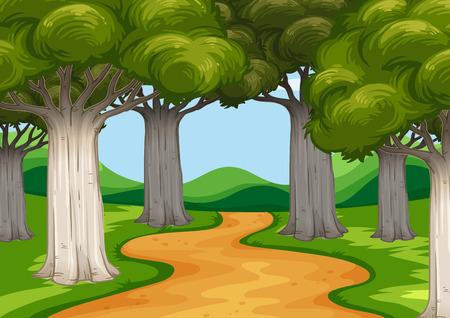 Escena con árboles a lo largo de la ilustración de la carretera