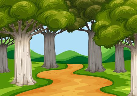 Scène avec des arbres le long de l'illustration de la route Banque d'images - 53484331