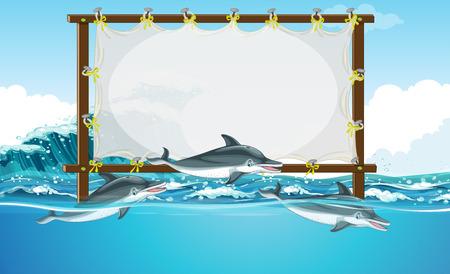 Border design with three dolphins swimming illustration