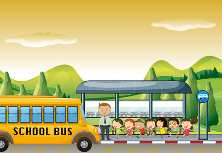 bus stop: Children getting on school bus at bus stop illustration