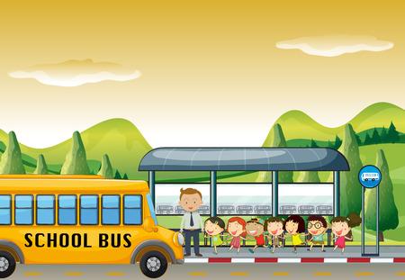 Dzieci dostać się na autobus szkolny w przystanek autobusowy ilustracji