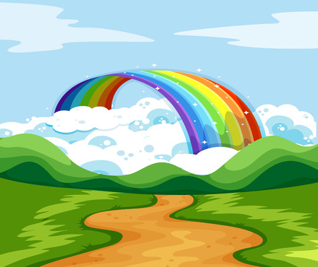 rainbow scene: Nature scene with rainbow at the end of the road illustration Illustration