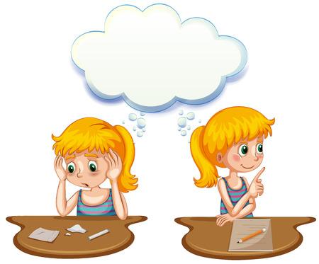 niña pensando: Muchacha que tiene pensamientos positivos y negativos de la ilustración Vectores