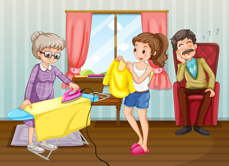 People doing chores in the house illustration